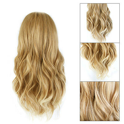 Christmas Party Golden Long Curly Wig Sexy Women's Cosplay Blonde Hair Wigs
