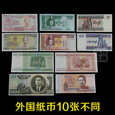 Lot 10Pcs Different Banknotes from 6 Countries Paper Money Collections UNC