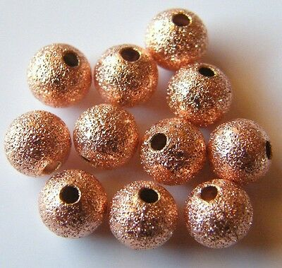 100pcs 6mm Round Brass Stardust Metal Spacers - Rose Gold