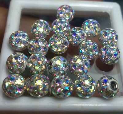 Ferido Crystal balls 6mm replacement Epoxy cover 14g 1.6mm 20pcs/1set AB color