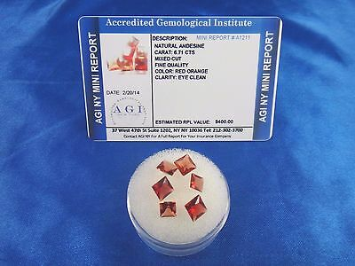 Natural Red Orange Andesine Lot 6.71 Cts Certified Appraisal $400 AGI AN16