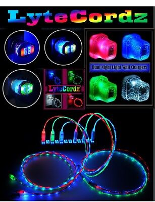 LED Glowing Light Up USB Charger Data Cable Cord iPhone 5/6/7/8/X 3 Ft or 6 Ft