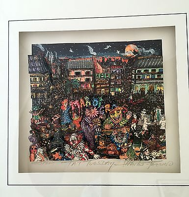 """Charles Fazzino """"Fat Tuesday"""" 3D Original :: Signed, Numbered and Framed"""