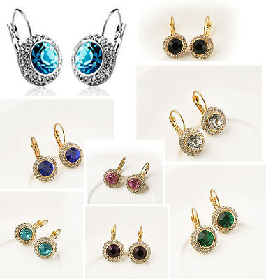 Women Fashion Rhinestone Crystal Dangle Earrings Ear Hook Stud Jewellery Gift UK