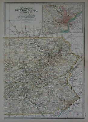 Original 1897 Map EASTERN PENNSYLVANIA Canals Railroads Philadelphia Harrisburg
