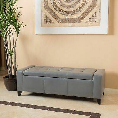 Contemporary Grey Leather Storage Ottoman Bench