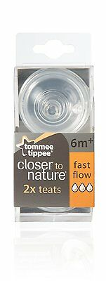 6 X Tommee Tippee Closer To Nature FAST Flow Teats 6 Pack 3x2 Baby Bottle