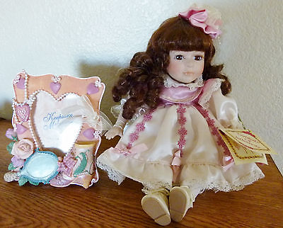 NEW Collector's Choice porcelain doll+ picture frame BEAUTIFUL BROWN HAIR & EYES