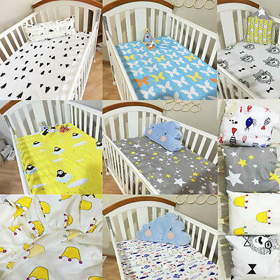 Baby Kid Crib Fitted sheets Soft Cotton Comfort Cartoon Printed Cot Bed Sheets