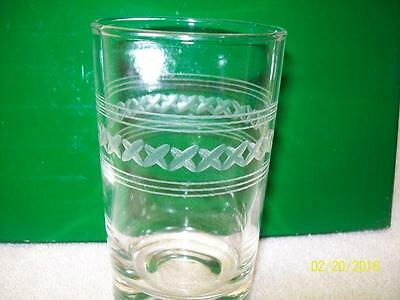 Vintage Etched X's Pattern Juice Glass Libby/Anchor Hocking??