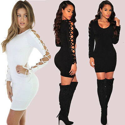 f69e264756d Womens Bandage Bodycon Long Sleeve Evening Sexy Party Cocktail Club Pencil  Dress