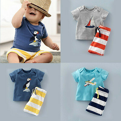 Toddler Baby Boys Infant Short sleeve Tops T-shirt Pants Summer Outfits Clothes