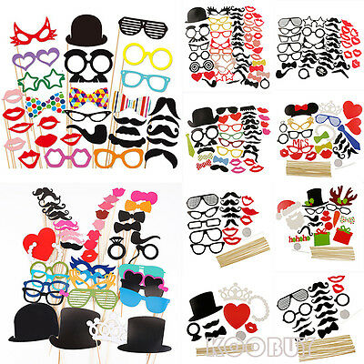 DIY Mask Photo Booth Props Moustache on A Stick Wedding Christmas Birthday Party