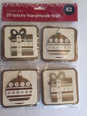 ** 20 Gold Gift Tags 2 Designs New ** Present Wrapping Santa