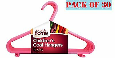 30 x Kids Children Plastic Hangers Baby Girls Clothes Laundry Coat Hanger Pink