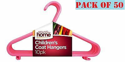 50 x Kids Children Plastic Hangers Baby Girls Clothes Laundry Coat Hanger Pink