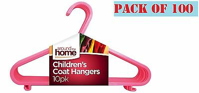 100 x Kids Children Plastic Hangers Baby Girls Clothes Laundry Coat Hanger Pink