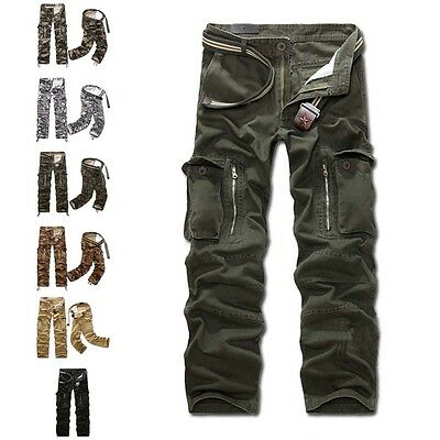 Luxury Mens Boys Military Army Combat Camo Trousers Work Slacks Cargo Pants