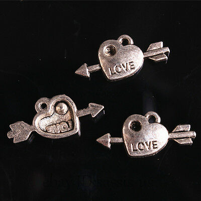 30pcs 20mm Charms Heart Pendant Love Arrows Tibet Silver DIY Jewelry Charm A7684