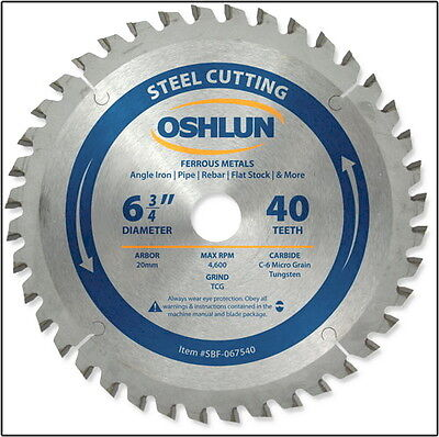 Oshlun SBF-067540 6-3/4-Inch 40 Tooth TCG Saw Blade w/20mm Arbor for Mild Steel