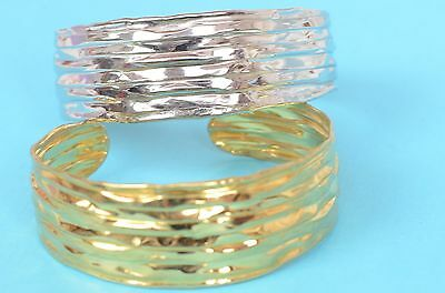 925 Sterling Silver Trifolded BANGLE cuff Italian Bracelet