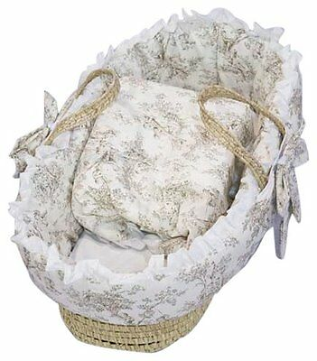 Baby Doll Bedding Toile Deluxe Moses Basket, Bone