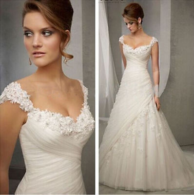 White Ivory gorgeous New tulle wedding dress in stock Size 6-16 AAA