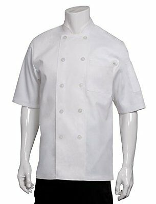 Chef Works Pcss Volnay Short Sleeve Basic Chef Coat, White, Medium