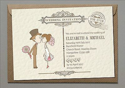Personalised Wedding Day Evening Invitations with Envelopes-BRIDE AND GROOM