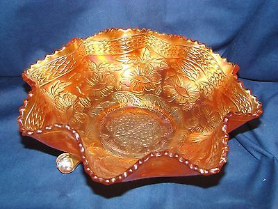 Vintage Fenton Two Flowers Marigold Carnival Glass 3 Footed Bowl