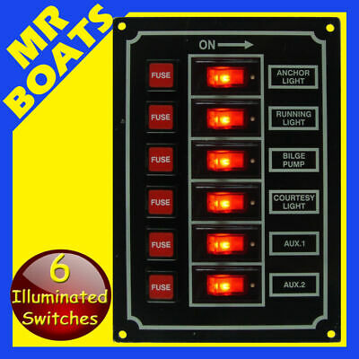 6 SWITCH PANEL BOAT MARINE RV Caravan 12V Navigation Stern lights FREE POSTAGE