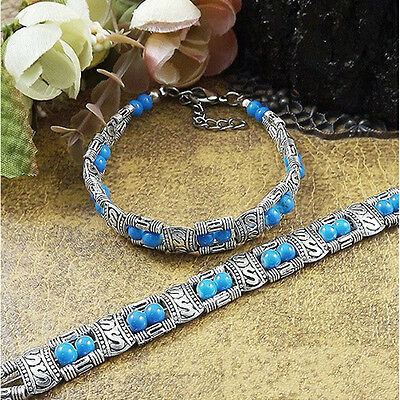 Hot Fashion Bracelets Tibetan Turquoise Silver Jewelry Chain Beads Bangle