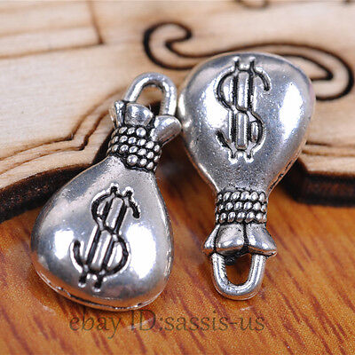 40pcs 17mm Charms money bag pendant Diy Jewelry  Necklace Tibetan Silver A7080