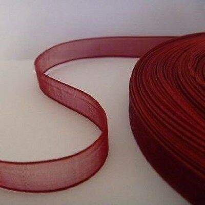 16mm Organza Ribbon - Burgundy Red - 45 meters (50 yards)