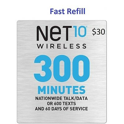 Net10 $30 Refill -- 300 Minutes for 60 Days