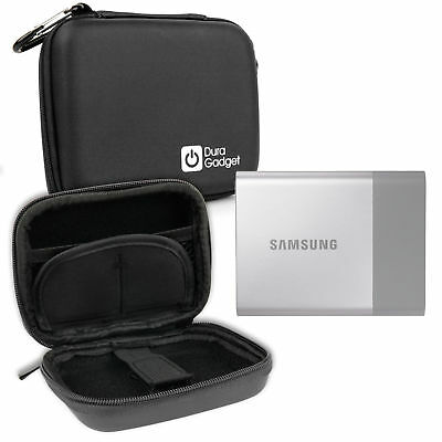 Black Hard EVA Case with Carabiner Clip & Zips for Samsung Portable SSD T3 HDD