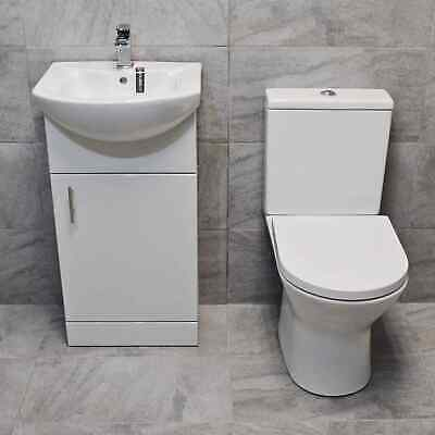 450mm Vanity Unit + Toilet Option Cloakroom Set Basin Sink Bathroom Suite + Tap