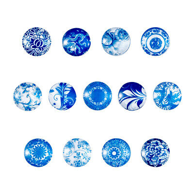 20pcs Blue & White Floral Printed Glass Flatback Cabochon Half Round/Dome 12x4mm