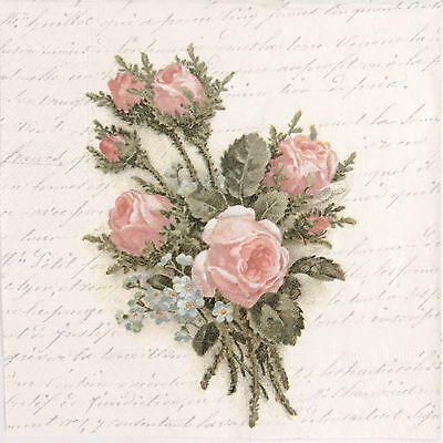 4x Paper Napkins for Decoupage Decopatch Craft Sagen Flower Pink Rose Bouquet