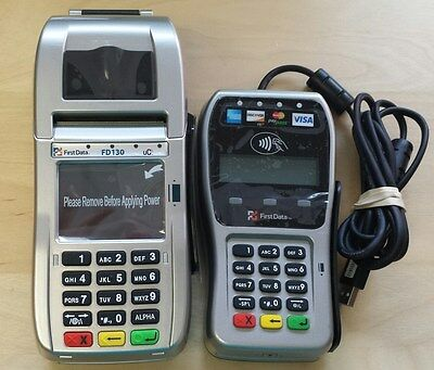 New First Data FD130 Terminal with Smart Card Reader/EMV and Refurb FD35 Pin Pad