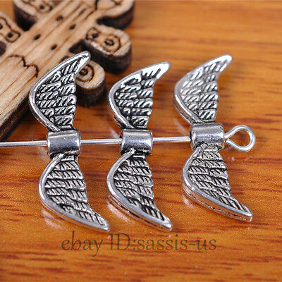 50 pieces 21*8mm Angel Wing Beads Spacer End Tibetan Silver Diy Jewelry A7401