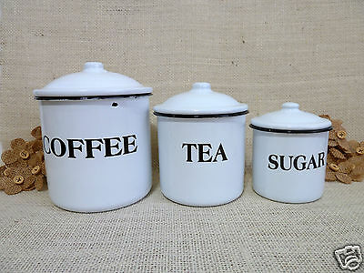 Vintage White Enamel Canister Set French Country Farm Kitchen Sugar Coffee Tea 3