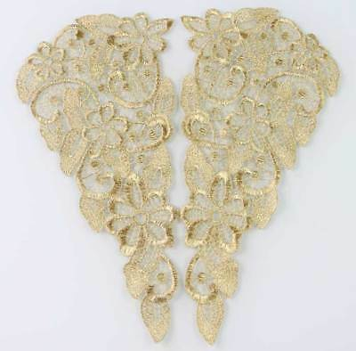1 Pair Gold Flower Floral Embroidered Purl Lace Applique Trim for women dress
