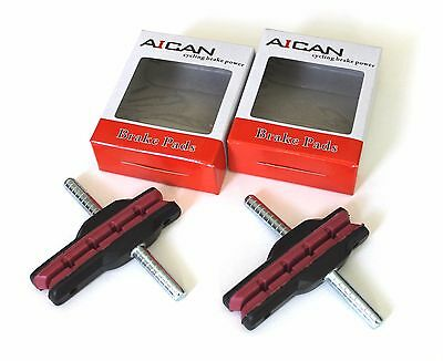 Aican Bike Bicycle Cantilever Canti shoes pads Red Shimano Deore, Acera, 2 pairs