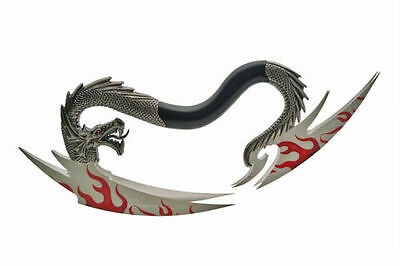 "14"" DRAGON QUAD FLAME SWING BLADE, Fixed Blade Knife, Fantasy Knife 211123"