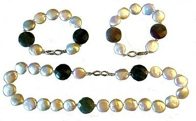 Coin Pearls & Watermelon Tourmaline coins-Mix & Match 2 Bracelets & necklace set