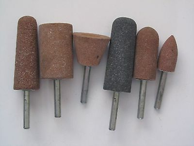"6 Assorted Mounted Point Grinding Stones 1/4"" Shaft"