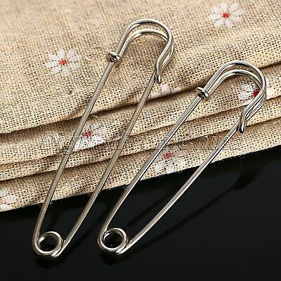 10Pcs Silver Large Safety Pins Metal Kilt Scarf Brooch Safety Pin Craft 65/75mm