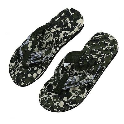 Sunny Mens Round Toe Camouflage Pattern Beach Shoes Flip-flops