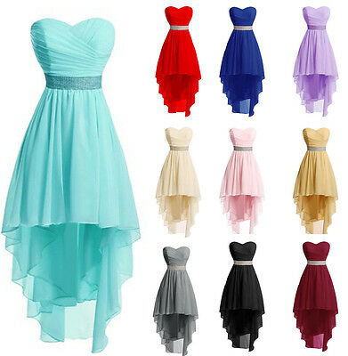 Hi-Lo Chiffon Formal Bridesmaid Prom Evening Gown Wedding Beach Ball Party Dress